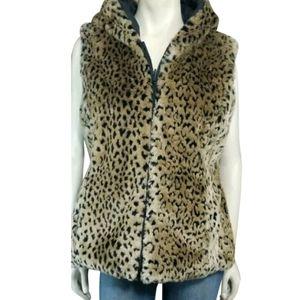 Kristen Blake Animal Print Hooded Vest Jacket